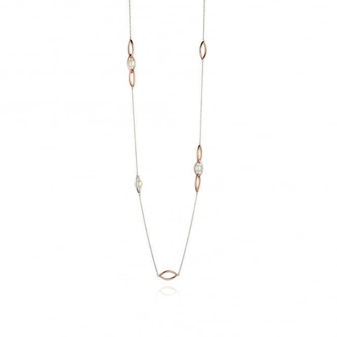 Fiorelli Silver, Rose Gold and Pearl Marquise Necklace