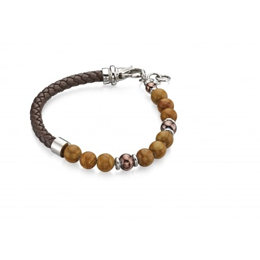 Fred Bennett Bead and Leather Bracelet.