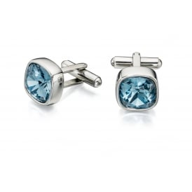 Blue Swarovski Crystal Cuff Links