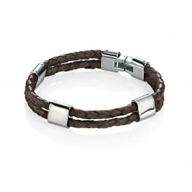 Brown Plaited Leather & Stainless Steel Bracelet