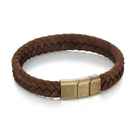 Brown Plaited Soft Leather Bracelet with Steel Clasp