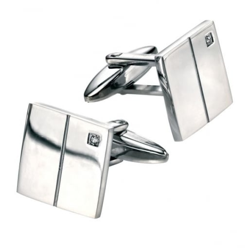 Fred Bennett Classic Square Cuff Link set with Cubic Zirconia