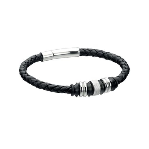 Fred Bennett Leather and Stainless Steel Bracelet.