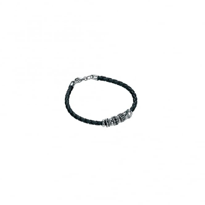Fred Bennett Leather Bracelet with Silver Beads