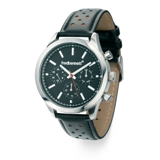 Fred Bennett Men's Watch with a Black Leather Strap