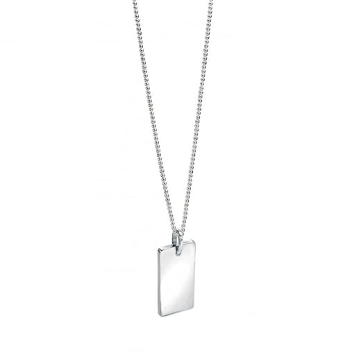 Fred Bennett Plain Silver Dog Tag on a Chain