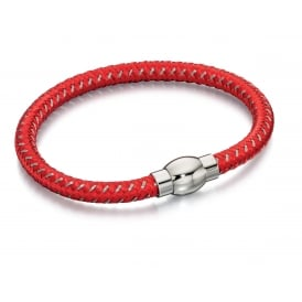Red and Grey Woven Nylon Bracelet