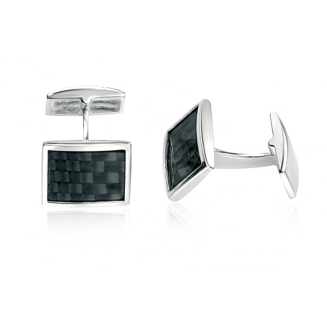 Fred Bennett Silver Cufflinks with Black Carbon Fibre Panel