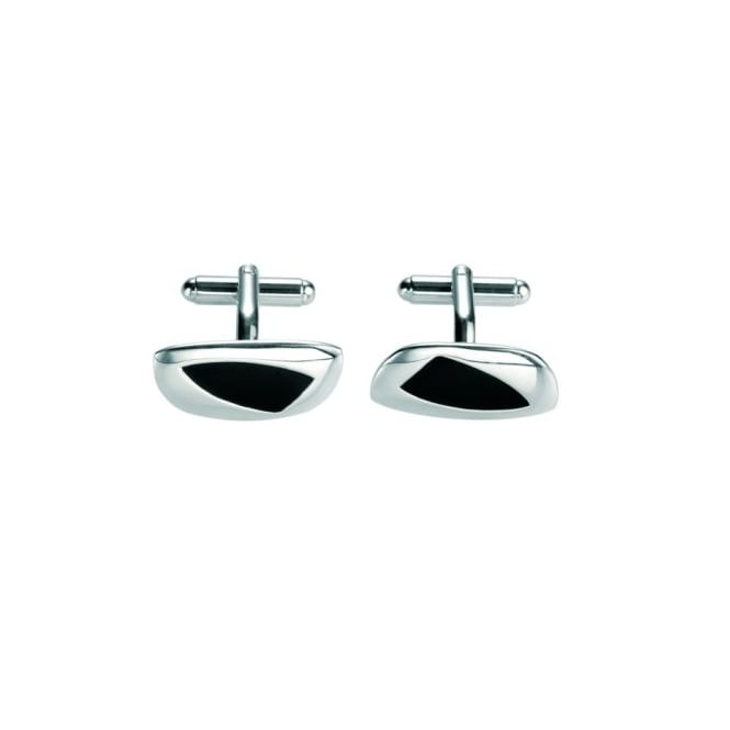 Fred Bennett Silver Cufflinks with Black Inlay.