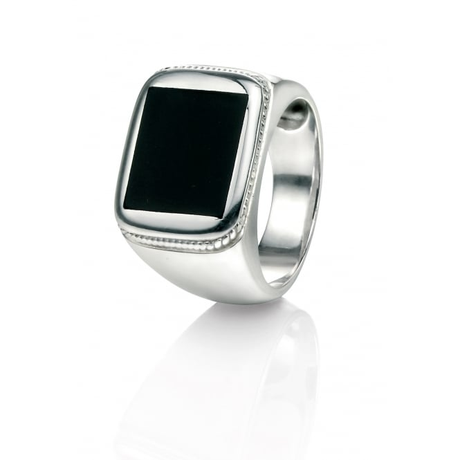 Fred Bennett Silver Ring with Black Agate