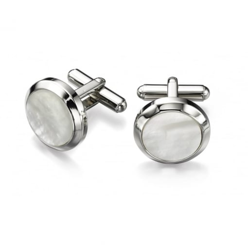 Fred Bennett Stainles Steel Cufflinks with Mother of Pearl