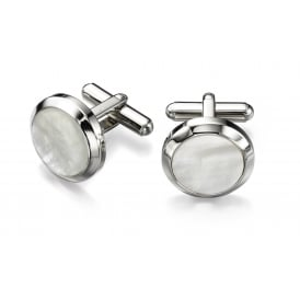 Stainles Steel Cufflinks with Mother of Pearl