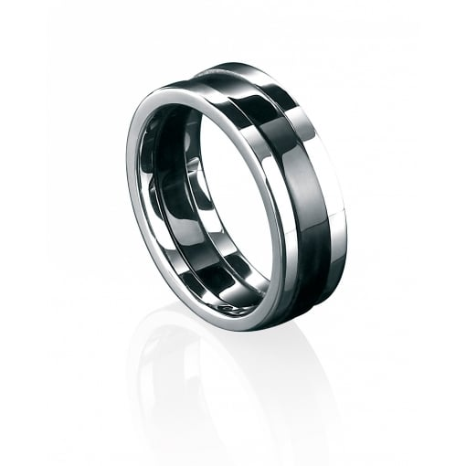 Fred Bennett Stainless Steel & Black PVD Ring.