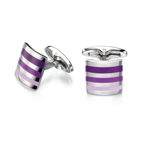 Fred Bennett Stainless Steel Cufflinks wth Purple Stripes