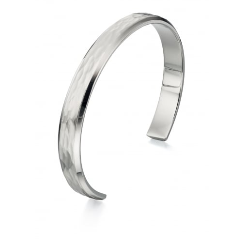 Fred Bennett Stainless Steel Hammered Finish Torque Bangle.