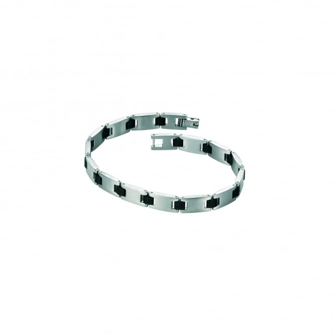 Fred Bennett Stainless Steel Link Bracelet with Rubber