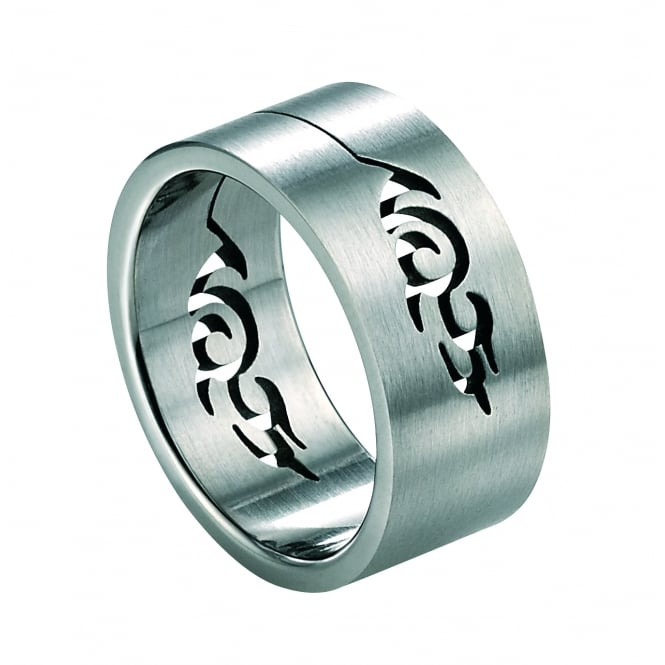 Fred Bennett Stainless Steel Ring with Cut Out Tribal Design