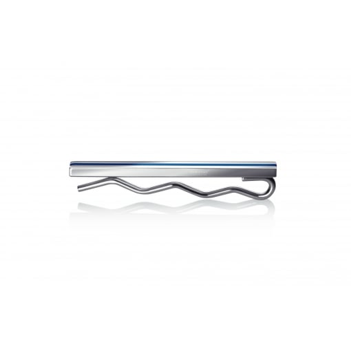 Fred Bennett Stainless steel Tie Slide with Blue Stripe
