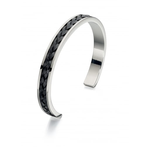 Fred Bennett Steel Torque Bangle Inlaid with Leather