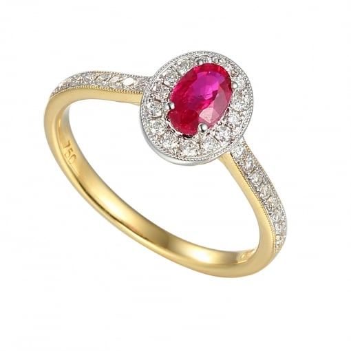 Goodwins 18ct Gold Oval Ruby & Diamond Ring