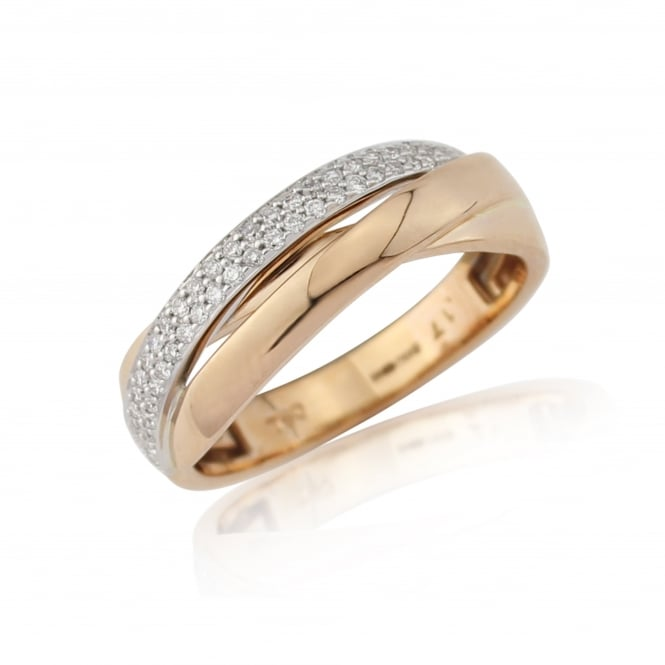 Goodwins 18ct Rose Gold Crossover Ring