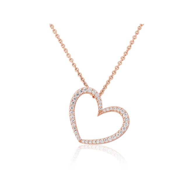 Goodwins 18ct Rose Gold Heart Diamond Heart