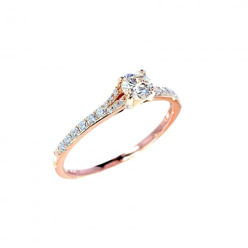 Goodwins 18ct Rose Gold Solitaire with Diamond Shoulders 0.47ct