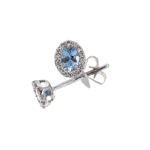 Goodwins 18ct White Gold Aquamarine and Diamond Cluster Earrings