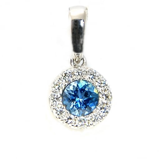 Goodwins 18ct White Gold Aquamarine and Diamond Pendant