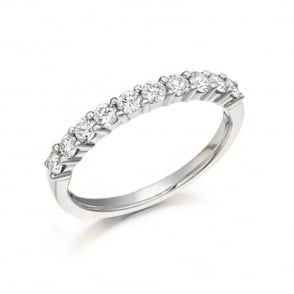 18ct White Gold Diamond Half Eternity Ring 1/2ct