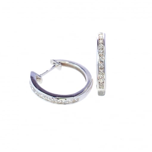 Goodwins 18ct White Gold Diamond Hoop Earrings 0.23ct