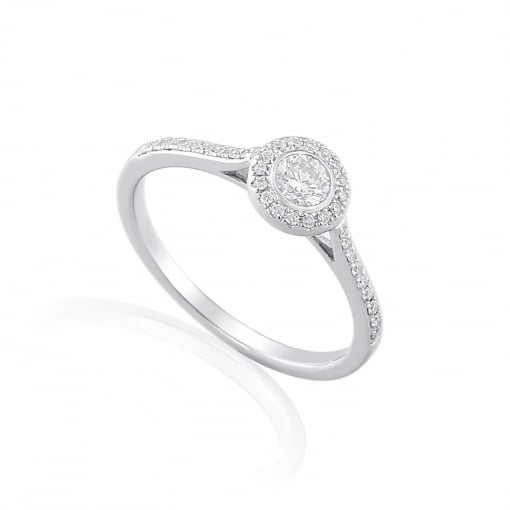 Goodwins 18ct White Gold Diamond Ring with Diamond Set Shoulders.