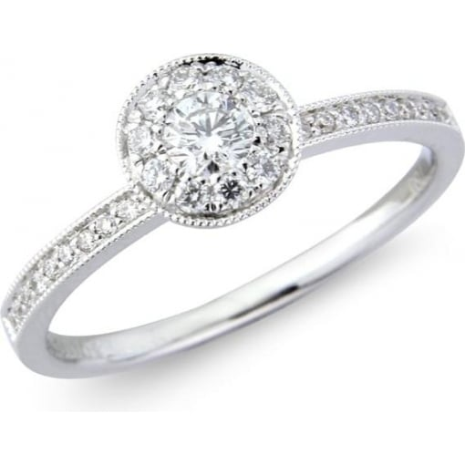 Goodwins 18ct White Gold Diamond Ring with Diamond Set Shoulders