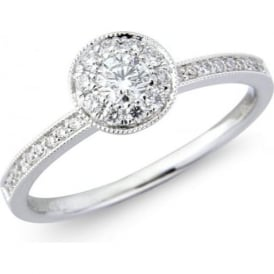 18ct White Gold Diamond Ring with Diamond Set Shoulders