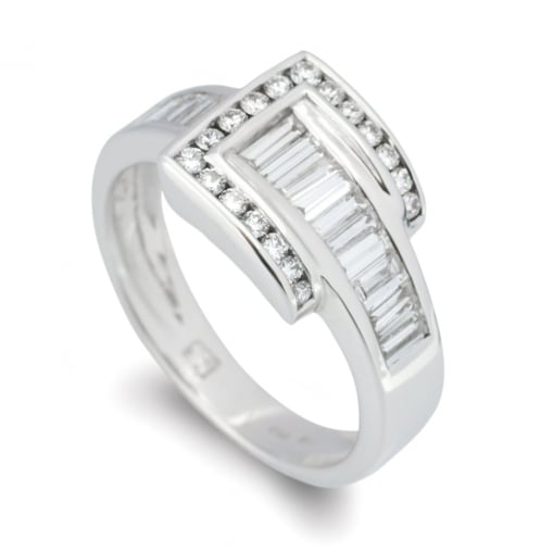 Goodwins 18ct White Gold, Diamond Set Buckle Ring