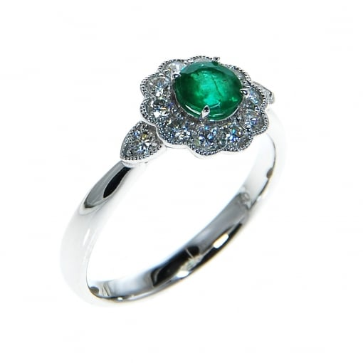 Goodwins 18ct White Gold Emerald & Diamond Ring