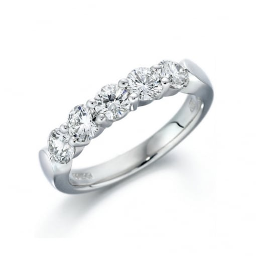 Goodwins 18ct White Gold Five Diamond Eternity Ring 0.81ct