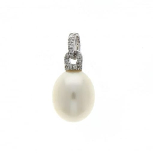 Goodwins 18ct White Gold Freshwater Pearl & Diamond Pendant