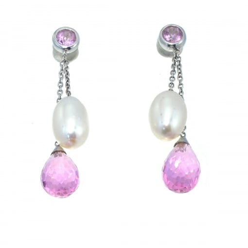 Goodwins 18ct White Gold Freshwater Pearl & Pink Quartz Drop Earrings