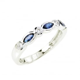 18ct White Gold Marquise Sapphire and Diamond Ring