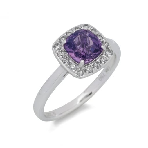 Goodwins 18ct White Gold, Mauve Sapphire and Diamond Ring.
