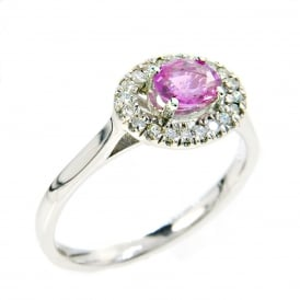 18ct White Gold Pink Sapphire & Diamond Cluster Ring