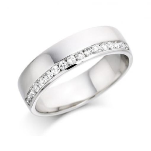 Goodwins 18ct White Gold Ring with Offset Diamonds
