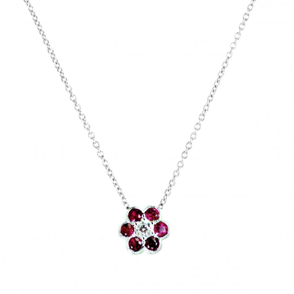 beaf0262d3301c Goodwins 18ct White Gold Ruby and Diamond Flower Cluster Pendant ...