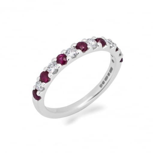 Goodwins 18ct White Gold Ruby and Diamond Half Eternity Ring.