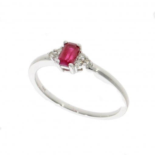 Goodwins 18ct White Gold Ruby and Diamond Ring