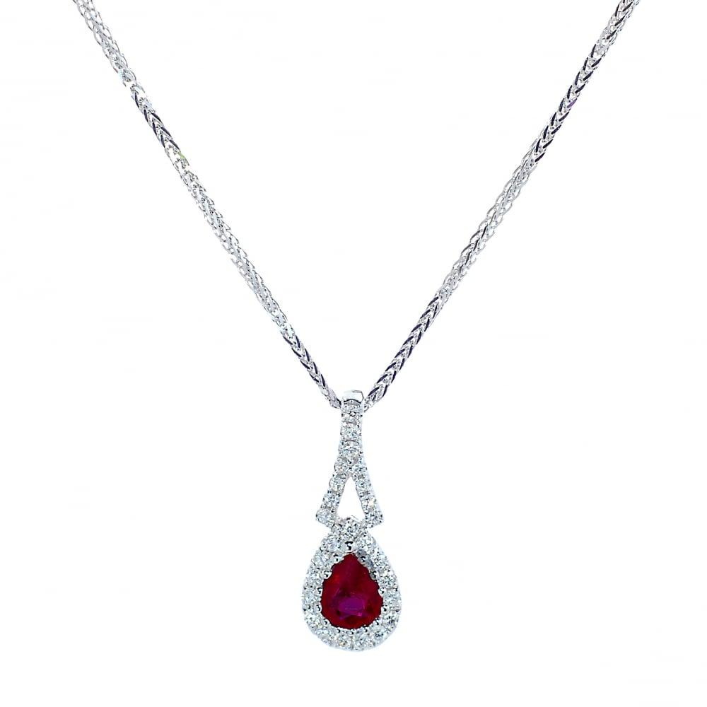 9ef48b130fb9 Goodwins 18ct White Gold Ruby   Diamond Pendant and Chain - Ladies ...