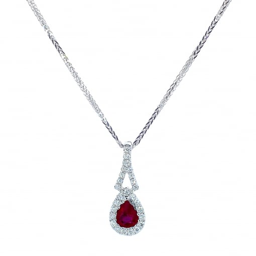 Goodwins 18ct White Gold Ruby & Diamond Pendant and Chain