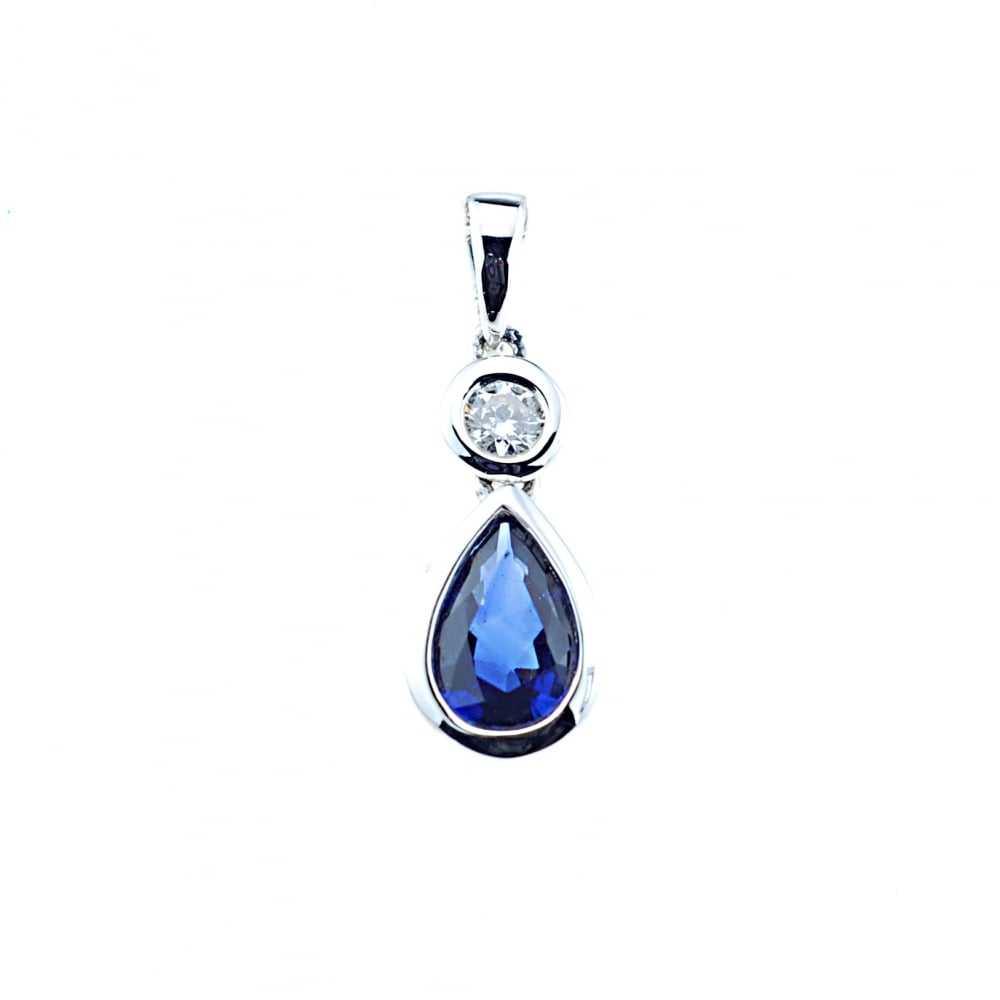 206664d29 Goodwins 18ct White Gold Sapphire and Diamond Pendant - Ladies from ...