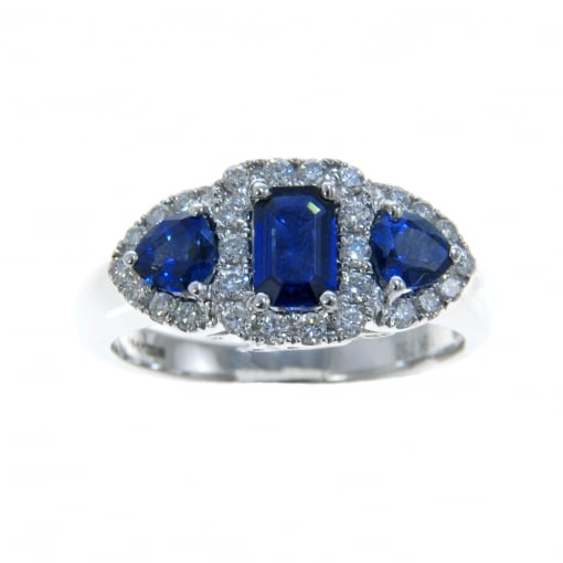 Goodwins 18ct White Gold Sapphire & Diamond Triple Cluster Ring.